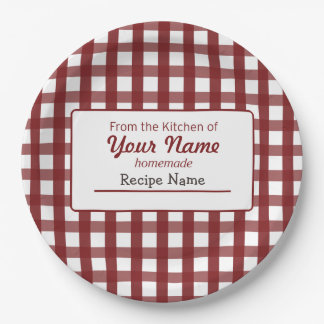 Gingham Food  Label 9 Inch Paper Plate