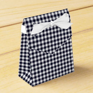 Gingham-Midnight Blue-Favor Box, Tent Party Favour Boxes