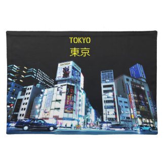 Ginza district in Tokyo, Japan at night Placemat
