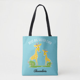 Giraffe Best Big Sister Ever Sisters Personalized Tote Bag