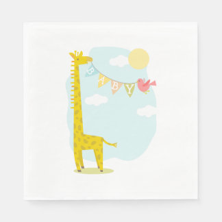 Giraffe + Bird Baby Shower Napkins Disposable Serviettes
