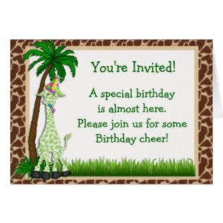 Giraffe Birthday Invitation Card