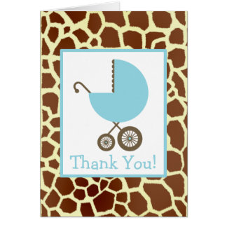 Giraffe & Blue Carriage Baby Shower Thank You Card