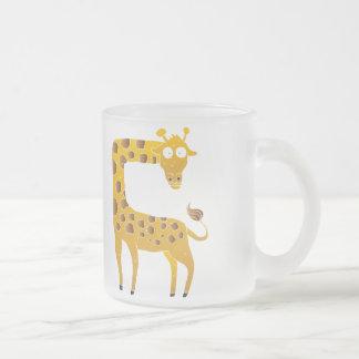 giraffe cartoon. frosted glass mug