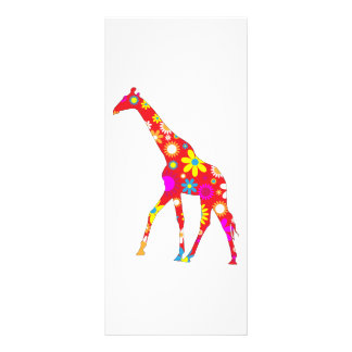 Giraffe funky retro floral business name bookmark 10 cm x 23 cm rack card