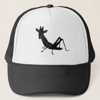 Giraffe Grasshopper distressed and meshed Trucker Hat