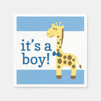 Giraffe in Blue Bow Baby Shower for Boy Paper Serviettes