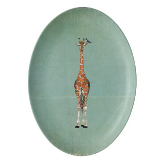 Giraffe & Indigo Bird Platter