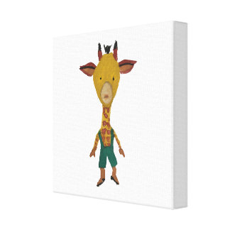 Giraffe Jungle Friends Baby Animal Water Color Stretched Canvas Print