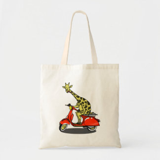 giraffe on a vintage scooter tote bag