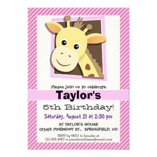 Giraffe on Pink & White Stripes 5x7 Paper Invitation Card