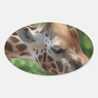 Giraffe Oval Sticker