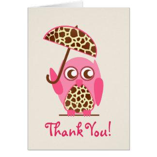 Giraffe Print Owl Baby Shower Thank You Greeting Card