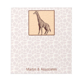 Giraffe Print with Business Name Notepad