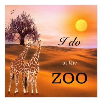 """Giraffe Safari Zoo Wedding Invitation 5.25"""" Square Invitation Card"""