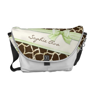 Giraffe Skin Pattern Ribbon n Bow Baby Girl Diaper Commuter Bag