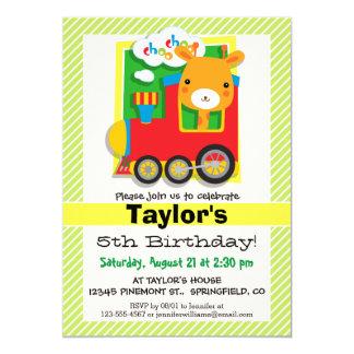 Giraffe Train; Lime Green & White Stripes 5x7 Paper Invitation Card