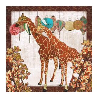 Giraffes Cherry Blossom Garden Party  Canvas Stretched Canvas Print