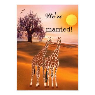 "Giraffes Safari Zoo Post Wedding Invitation 5"" X 7"" Invitation Card"