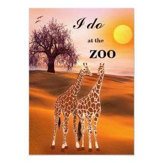 "Giraffes Safari Zoo Wedding Invitation 5"" X 7"" Invitation Card"