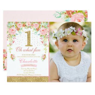 Girl 1st Birthday Invitation Floral Pink Gold