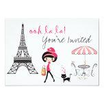 Girl and Cat Paris Birthday Invitation 13cm X 18cm Invitation Card