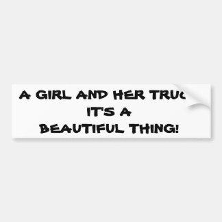 Girl and Her Truck Bumper Sticker