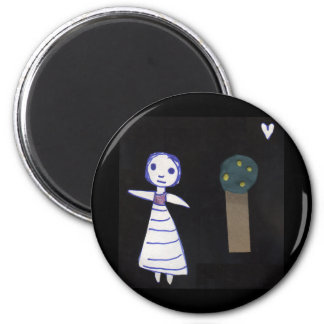 Girl and tree 6 cm round magnet