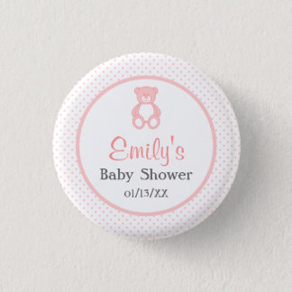 Girl Baby Shower Button - Pink Teddy Bear Button
