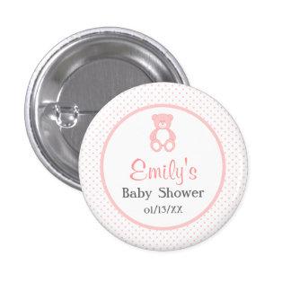 Girl Baby Shower Button - Pink Teddy Bear Button