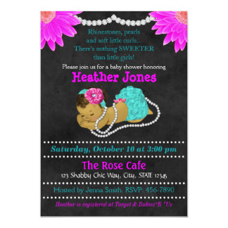 Girl Baby Shower Invitation Chalkboard Aqua 087-2