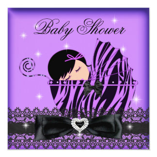 Girl Baby Shower Party Purple Black Lace Card