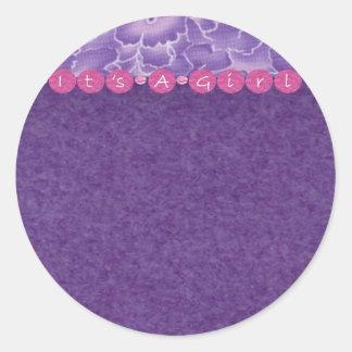 Girl-baby shower round sticker
