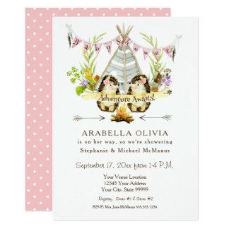 Girl Baby Shower Woodland BOHO Teepee Hedgehogs Card