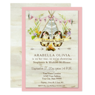 Girl Baby Shower Woodland Forest Teepee Hedgehogs Card