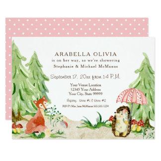 Girl Baby Shower Woodland Tree Forest Fox Hedgehog Card