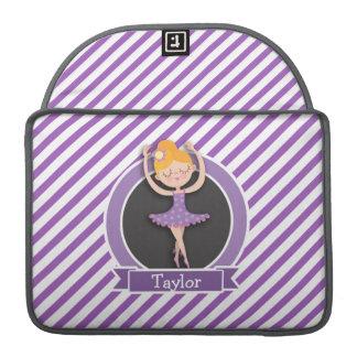 Girl Ballet Dancer; Ballerina; Purple & White Sleeve For MacBook Pro