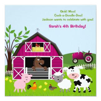 "Girl Barnyard Farm Animals Birthday Invitations 5.25"" Square Invitation Card"