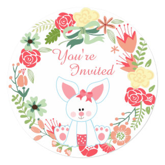 Girl Bunny and Wreath 1st Birthday Invitation