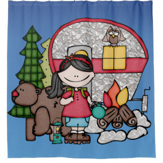 Girl Camping in Woods Bear Campfire Shower Curtain