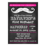 Girl Chalkboard Moustache Birthday Invitation