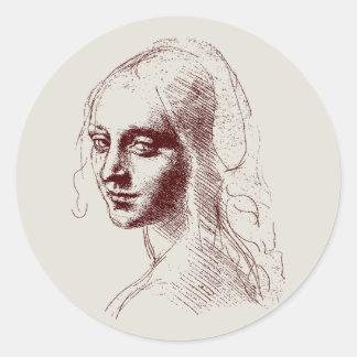 girl classic round sticker