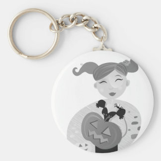 Girl drawing with Pumpkin head Basic Round Button Key Ring