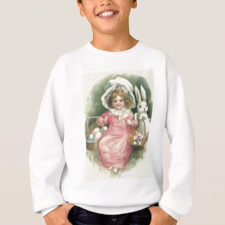 Girl Easter Basket Bunny Colored Eggs Sweatshirt