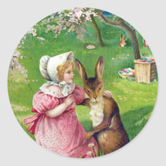 Girl Easter Bunny Colored Eggs Dogwood Classic Round Sticker