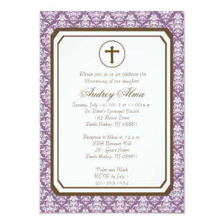 Girl Elegant Christening Invitation - Purple
