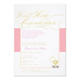 Girl First Communion Invitation - Pink 5 x 7