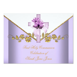 Girl First Holy Communion Lilac Pink White Flower Card