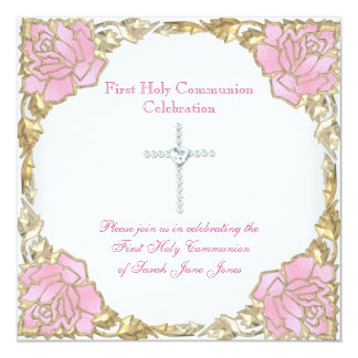 Girl First Holy Communion Pink Gold Silver Cross Card