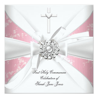 Girl First Holy Communion Pink White Blossom Card